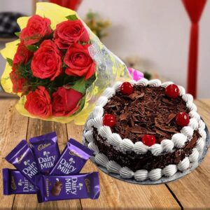 Black Forest & Red Rose Bouquet